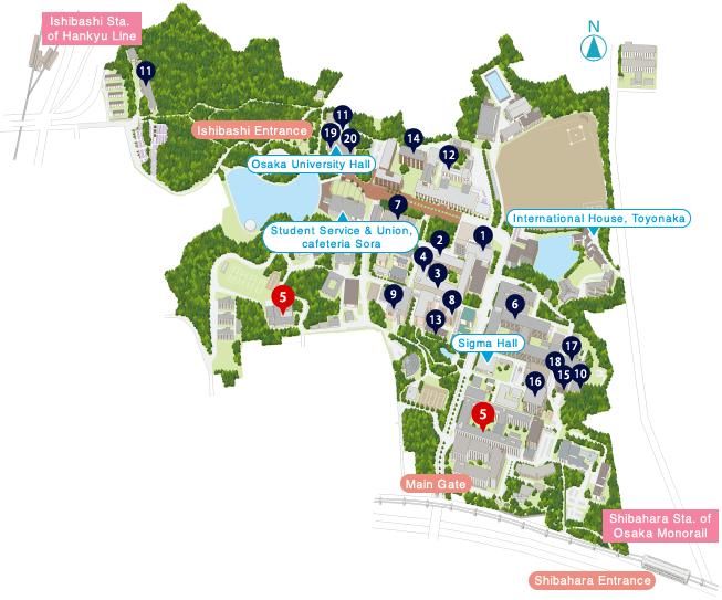 Toyonaka campus map