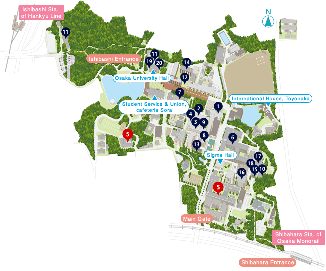 Toyonaka campus map